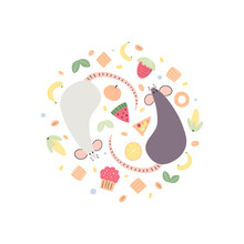 Vector Illustration Of Rats With Food On White Background. Drawn By Hand Doodle Style Cartoon Mouses With Elements Of Food. Decorative Element.
