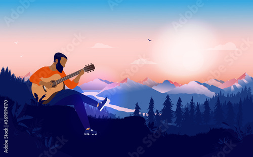 Fototapeta Modern blues music player with guitar outdoors. Man sitting with acoustic instrument in wilderness playing bluegrass, blues and jazz. Vector illustration. obraz
