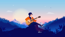 Female Singer And Songwriter - Woman Playing Guitar Late Evening With Nature And Sunset In Background. Vector Illustration.