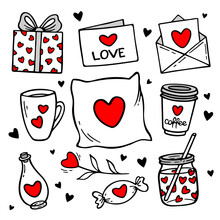 Love Doodles Elements. Cute Hand Drawn Set Of Icons With Gift, Hearts, Letter, Cups, Gifts, Potion. Vector Illustration. Design For Prints, Cards And Coloring Page. Valentine's Day Theme Poster.