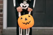 Skeleton: Girl Ready To Go Trick Or Treating On Halloween