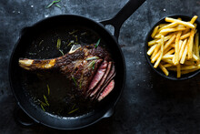 Herb Butter Basted Rib Eye Steak With Fries