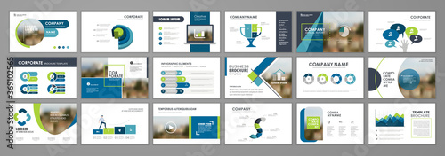 Fototapeta Brochure layout design template set obraz