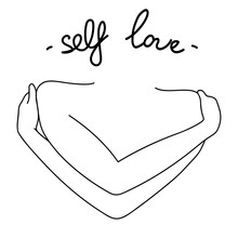 Love Yourself First. Self Love Vector Minimalist Line Illustration. Hugging Hands With Heart On Isolated White Background