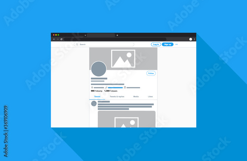 Obraz Vector Style Social Media Profile Page with Social Media Banner Template Mockup Illustration and Post - fototapety do salonu