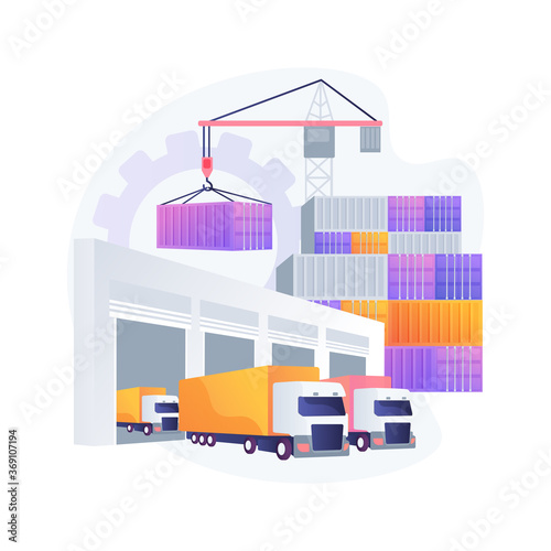 Obraz Logistics hub abstract concept vector illustration. Global logistics center, commercial warehouse, distribution hub, supply chain management, transportation cost optimization abstract metaphor. - fototapety do salonu