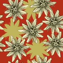 Seamless Floral Pattern With Heads Of Passion Flower Or Passiflora.
