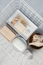 White Basket With Bath Cosmetic Items
