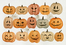 Watercolor Halloween Pumpkins With Funny Faces And Spider Webs