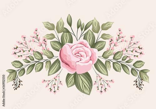 Fototapeta pink rose flower with leaves painting design, natural floral nature plant ornament garden decoration and botany theme Vector illustration obraz