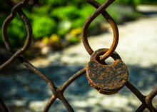 Old, Rusted Padlock Locked On An Old And Rusted Chain Link Fence
