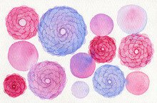 Abstract Pink Watercolor Flowers