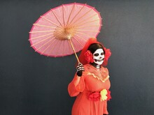 Woman Dressed Up As A Skeleton For Day Of The Dead