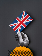 Hand With A Union Jack Flag