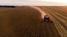 Combine Harvester Collecting R...
