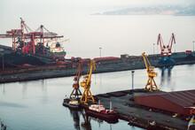 Marine Cargo Port With Cranes ...