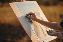 Crop Artist Drawing Landscape ...