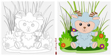 Black-and-white And Color Images For A Color Book. Contour Drawing With Children's Themes. A Sheep Sits On A Lawn Among Flowers And Bushes. For Color Books, Children's Prints, Postcards.