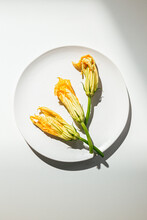 Zucchini Blossoms On Plate