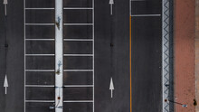Drone Shot Of A Road Marking - Arrows And Grid