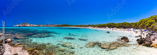 Cuadros en Lienzo Cala Agulla sand beach Spain, Balearic Islands, Mallorca, Cala Rajada