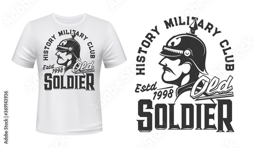 German soldier t-shirt print, vector mascot for history military club Canvas-taulu