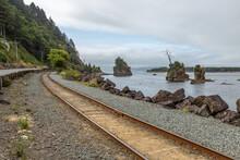 Railroad Tracks Along The Bay ...