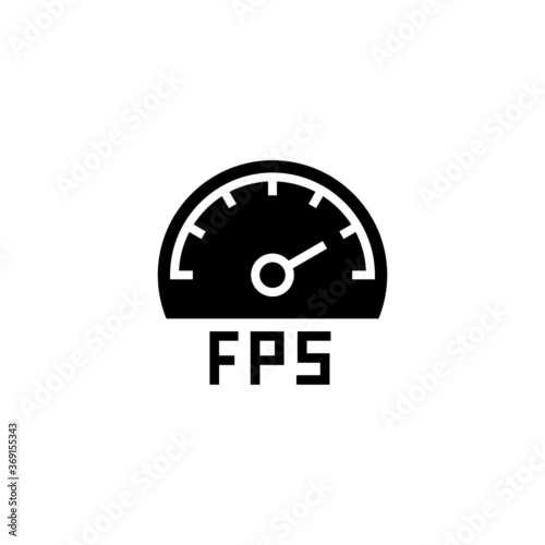 FPS Indicator icon in black flat glyph, filled style isolated on white backgroun Canvas Print