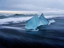 Ice Block On Ice Beach In Iceland