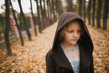Beautiful Little Girl In The Autumn Park