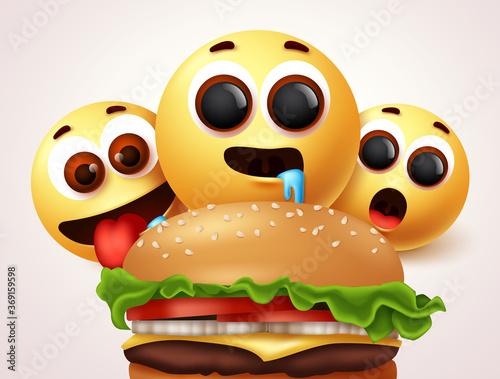 Valokuvatapetti Smiley emojis hungry of burger character vector design