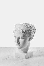 Gypsum Artemis Head On A Marble.