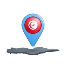 Tunisia Flag Map Pin On White