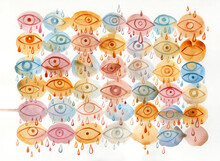 Hand Painted Watercolor Pattern With Crying Eyes