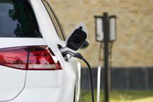 Close Up Of Recharging Of Electric Car
