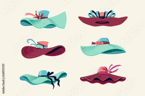 Carta da parati Colorful Kentucky Derby Hats Set Vector Illustration