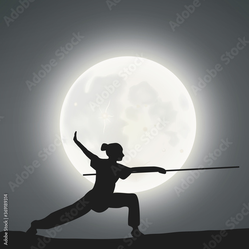 Photo A Female Kung Fu Master, The Cudgel Techniques