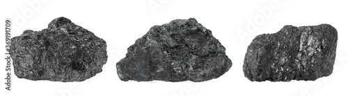 Photographie Natural black hard coal isolated on a white background