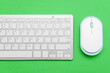 canvas print picture - Modern computer mouse and keyboard on color background