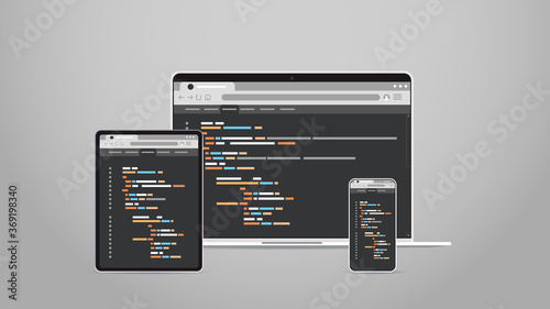 Obraz laptop tablet and smartphone screns cross platform application development adaptive user interface responsive web design programming concept horizontal vector illustration - fototapety do salonu