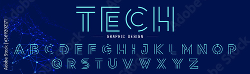 Obraz Creative abstract modern digital line fonts. Minimalist slim typography technology font style. Vector illustration and tech logo.  - fototapety do salonu