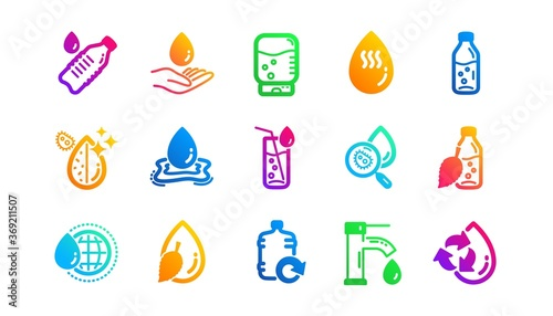 Obraz Bottle, Antibacterial filter and Tap water. Water drop icons. Clean water classic icon set. Gradient patterns. Quality signs set. Vector - fototapety do salonu