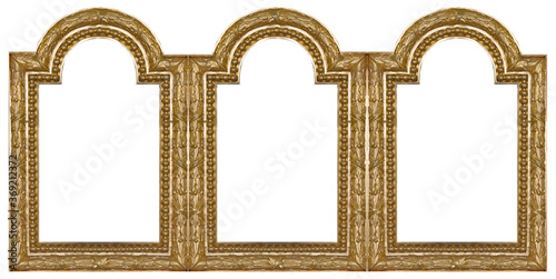 Obraz na plátně Triple golden frame (triptych) for paintings, mirrors or photos isolated on white background