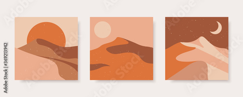 Canvas Print Set of abstract contemporary backgrounds in earth colors