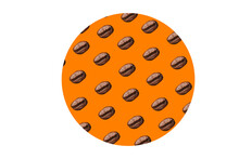 Orange Circle With Coffee Beans On A White Background