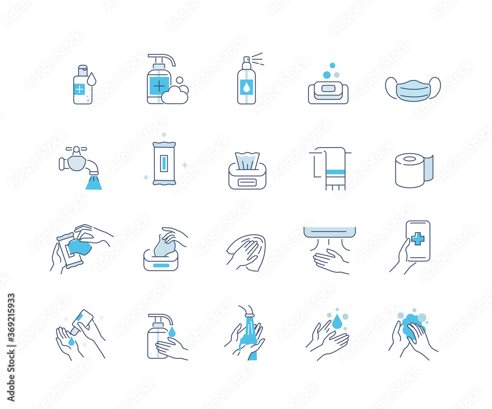 Fototapeta Hygiene Icons Set. Soap, Antiseptic Gel, Cleaning Tissues, Medical Mask and other Hygienic Products. Washing Hand with Soap. Cleaning Products Signs Collection. Flat Line Cartoon Vector Illustration.