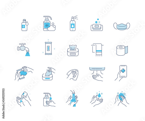 Fototapeta Hygiene Icons Set. Soap, Antiseptic Gel, Cleaning Tissues, Medical Mask and other Hygienic Products. Washing Hand with Soap. Cleaning Products Signs Collection. Flat Line Cartoon Vector Illustration. obraz