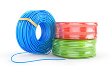Color Cable Coils On A White Background. 3d Illustration