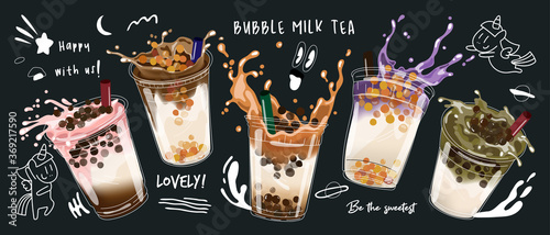 Obraz Bubble milk tea design collection,Pearl milk tea , Boba milk tea, Yummy drinks, coffees with doodle style banner,  Vector illustration. - fototapety do salonu