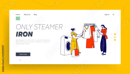 Obraz Laundry Staff Steam Garment on Hanger at Public Laundrette Landing Page Template. Female Character Use Steamer Iron - fototapety do salonu